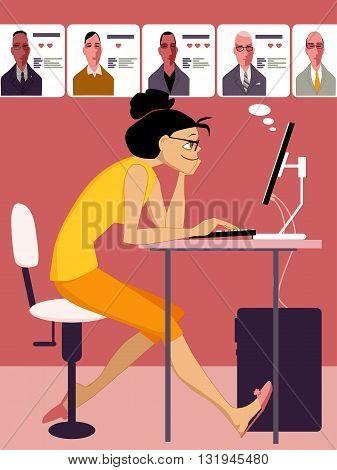 Woman browsing through profiles of men on an internet dating site, vector cartoon, no transparencies