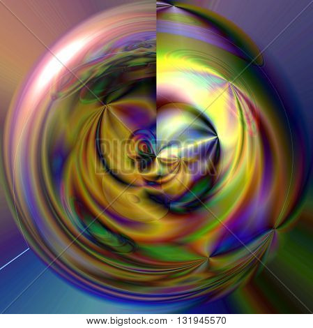 Abstract coloring gold gradients background with visual lens flare and poolar coordinates effects