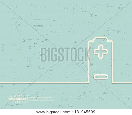 Creative vector battery. Art illustration template background. For presentation, layout, brochure, logo, page, print, banner, poster, cover, booklet, business infographic, wallpaper, sign, flyer.