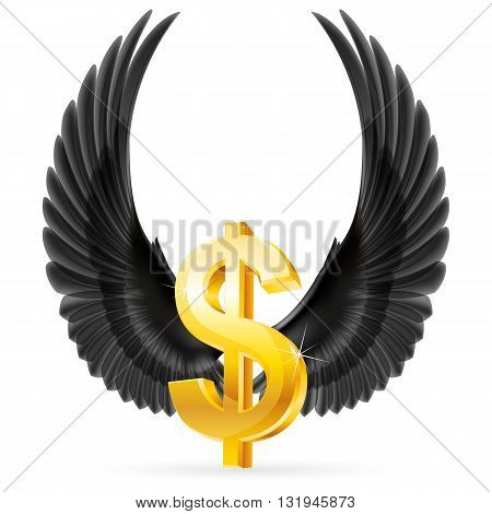 Golden United States dollar symbol with raised up black wings