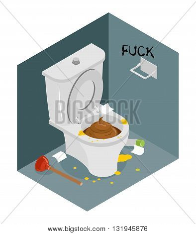 Dirty Toilet Isometrics. Stained Toilet And Plunger. Broken Air Freshener. Interior Unharvested Rest