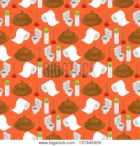 Toilet Background. Shit And Toilet Seamless Pattern. Plunger And  Roll Of Toilet Paper Ornament. Acc