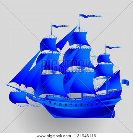 Blue paper sailing ship on gray background. Vector illustration