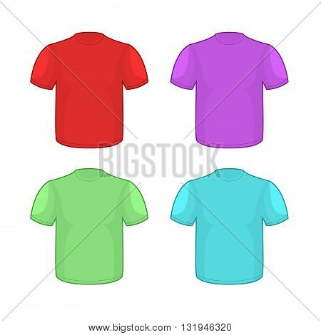 Colorful T-shirts Set On White Background. Clothing Pattern For Your Design. Illustrations Clean Shi