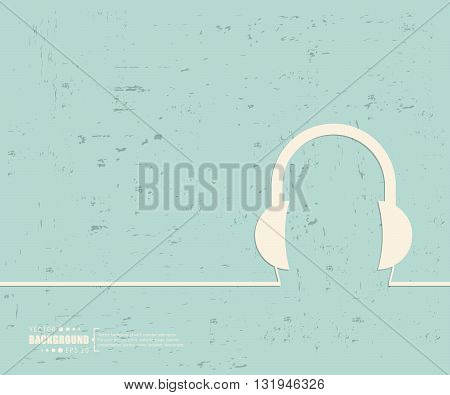 Creative vector headphone. Art illustration template background. For presentation, layout, brochure, logo, page, print, banner, poster, cover, booklet, business infographic, wallpaper, sign, flyer.