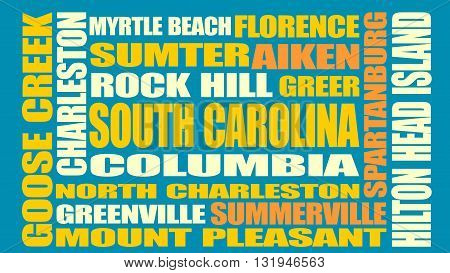 Image relative to USA travel. South Carolina cities and places names cloud.