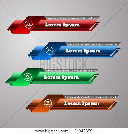 Set Of Colour Tv Banners Vector Illustratioт Eps 10