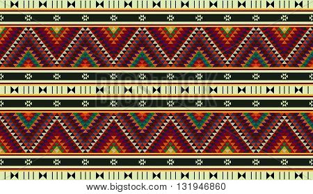 Colorful Triangles Ornamental Zig Zag Rug From Arabia