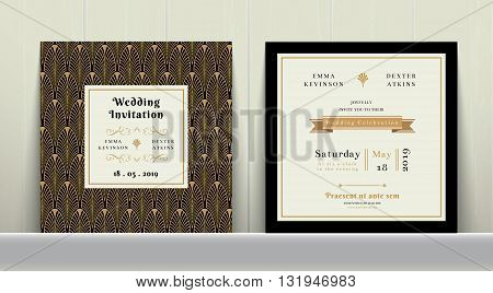 Art Deco Wedding Invitation Card in Gold and Black Colour on wood background