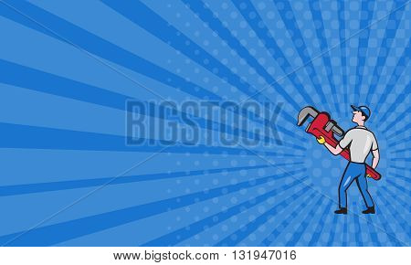 Business card showing illustration of a plumber wearing hat walking lifting giant monkey wrench looking to the side viewed from rear set on isolated white background done in cartoon style.