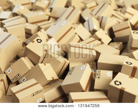 Warehouse or delivery concept background.Heap of cardboard delivery boxes or parcels. 3d illustration