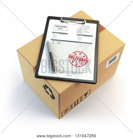 Delivery concept. Cardboard box, pen, clipboard with receiving form and stamp delivered isolated on white. 3d illustration