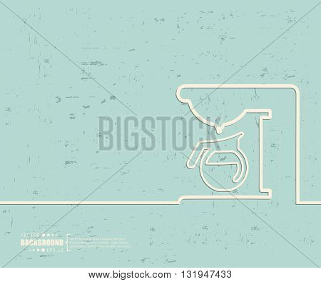 Creative vector coffee maker. Art illustration template background. For presentation, layout, brochure, logo, page, print, banner, poster, cover, booklet, business infographic, wallpaper, sign, flyer.