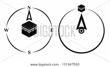 Qibla muslim prayer direction. Kaaba direction. Mecca. Saudi Arabia. Qibla Islamic term used for the direction for offering a prayer which is Kaaba in Mecca. Vector isolated illustration.