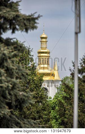 Dormition Cathedral in Pechersk Lavra in Kiev. View of Kiev Pechersk Lavra Orthodox Monastery, Ukraine