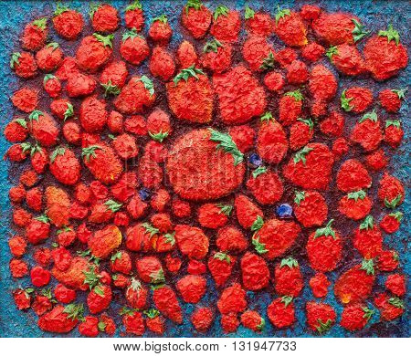 original oil painting on canvas impressionism, strawberries inspiration, big strawberry in the center - everybody going around the big things, big strawberry in the center