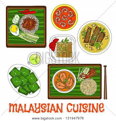 National malaysian rice dish nasi lemak sketch icon served on banana leaf with lamb stew and vegetables, pork bone soup and fish curry with fried rice, shrimp sambal udang and rice cakes steamed in banana leaves with green tea