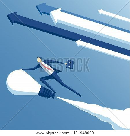 business concept ideas and creativity vector illustration of businessman riding on the idea or a light bulb and flying in the sky