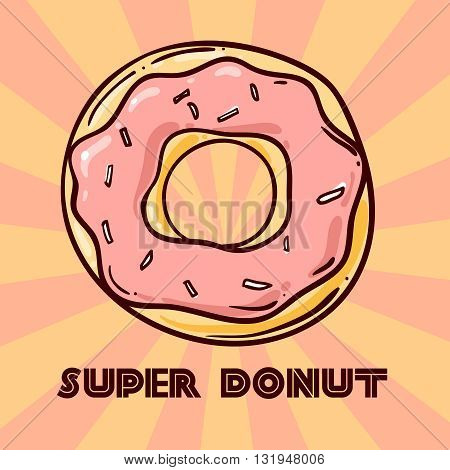 Donut vector illustration. Donuts icing sugar. Hand drawn vector donut doodle style.