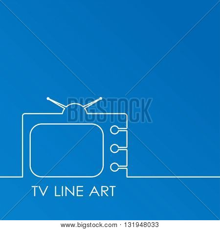 White TV on blue background, abstract line art vector illustration. TV concept