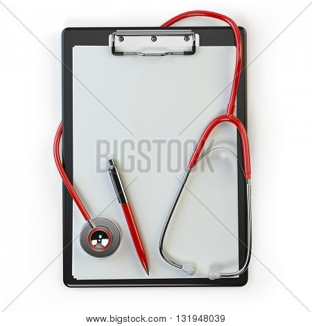 Clipboard withstethoscope and pen isolated on white. Diagnosis or blood test. Medical concept. 3d illustration