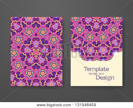 Colorful ornamental ethnic booklet set. Mandala vector template tribal vintage theme collection.