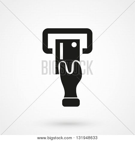 Atm Icon Black Vector On White Background