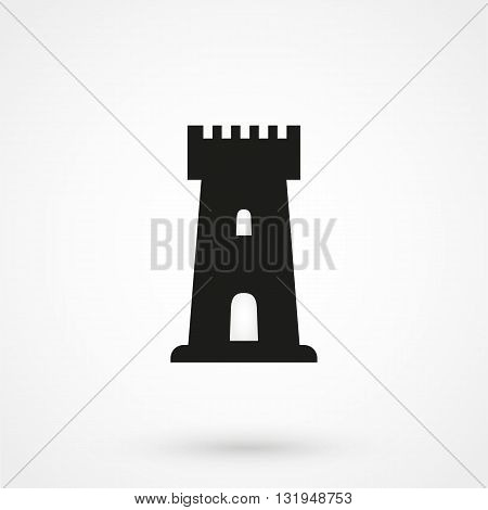 Castle Tower Icon Black Vector On White Background