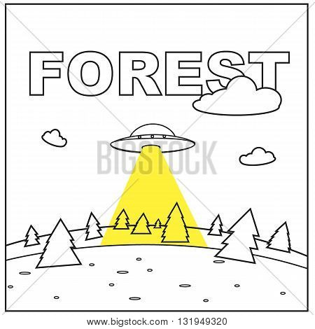 Vector poster landscape forest and spaceship for postcard Alien yellow Background