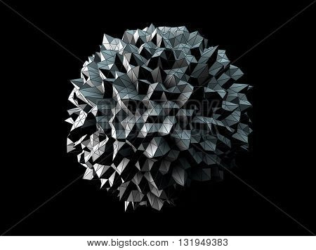 3D Illustration - Abstract irregular spherical shape isolated on black background.