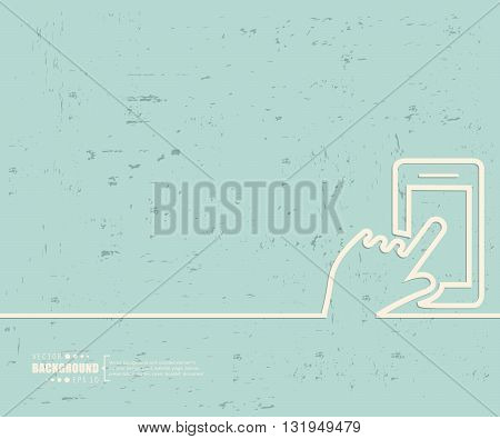 Creative vector hand with the phone. Art illustration template background. For presentation, layout, brochure, logo, page, print, banner, poster, booklet, business infographic, wallpaper, sign, flyer.