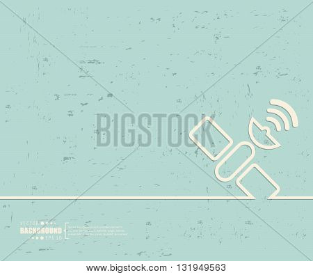 Creative vector satellite. Art illustration template background. For presentation, layout, brochure, logo, page, print, banner, poster, cover, booklet, business infographic, wallpaper, sign, flyer.