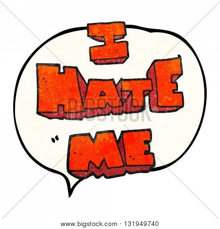 I hate me freehand speech bubble textured cartoon symbol