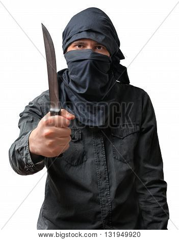 Terrorism Concept. Terrorist Threatening With Knife. Isolated On