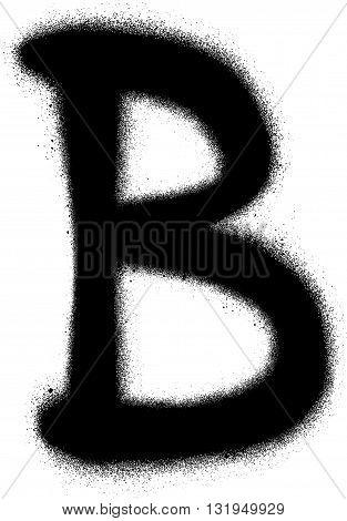 sprayed B font graffiti in black over white