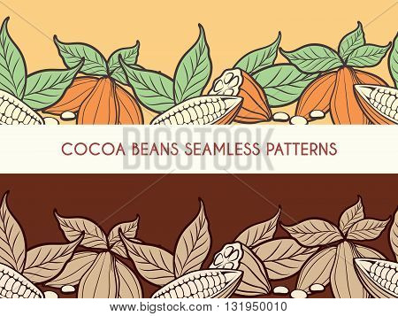 Cocoa beans horizontal seamless patterns for chocolate banners