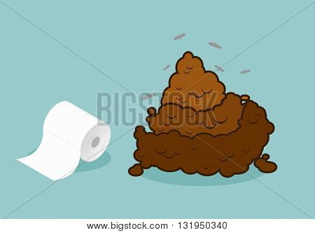 Shit And Roll Of Toilet Paper. Brown Turd And Paper Product Used In Sanitary And Hygienic Purposes.