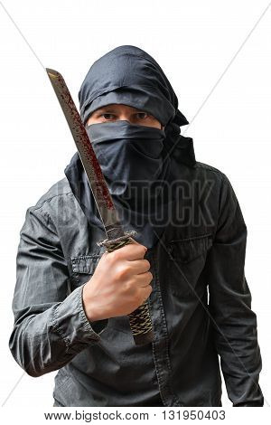 Terrorist Holds Bloody Knife. Isolated On White. Terrorism Conce