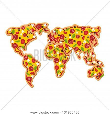 World Map Pizza. Continents Of Planet Earth Fast Food. Geography National Italian Food. Petite Geogr
