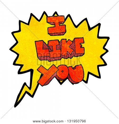 I like you freehand speech bubble textured cartoon symbol