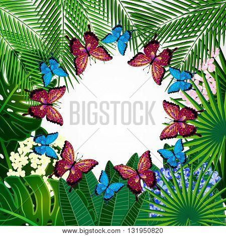 Floral design background. Tropical flowers and butterflies.
