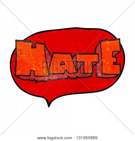 freehand speech bubble textured cartoon word Hate
