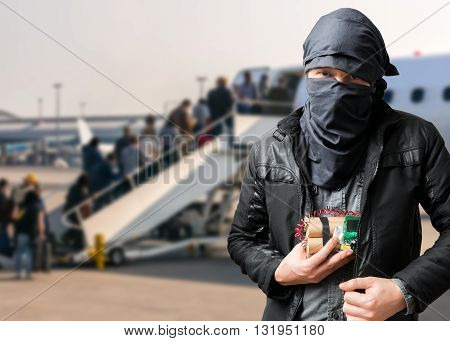 Terrorist Has Dynamite Bomb In Jacket In Airport. Terrorism Conc