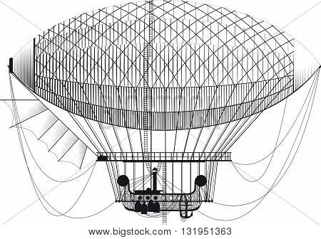 Fictional retro dirigible with basket passenger ladders and left wing on white background