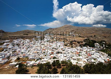 White town of Lindos in Rhodes island