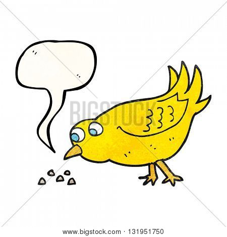 freehand speech bubble textured cartoon bird pecking seeds