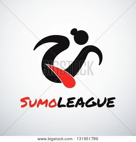 Sumo sport vector logotype. Simple shapes and colors. Japanese culture.