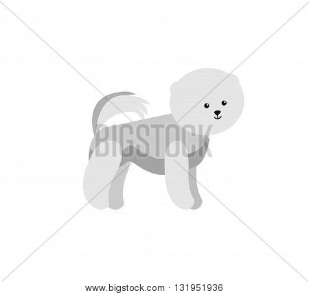 Vector flat dog. Vector detailed dog Isolated on white. Vector detailed dog poster. Cute dog vector background.  Vector dog.
