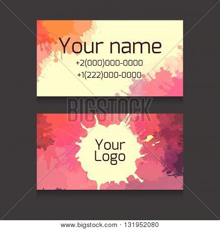 Set of double-sided business card with space for your text and logo with colorful watercolor splashes for artists and creative people and your business