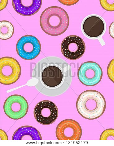 Seamless pattern with donuts and cups of coffee. Vector background for cards scrapbooking cards and your creativity